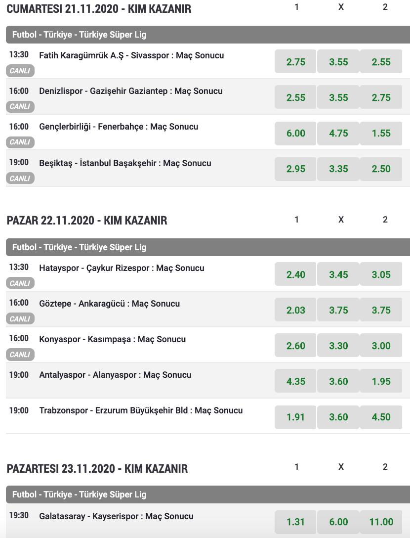 Süper Lig Bets10 bahis oranları